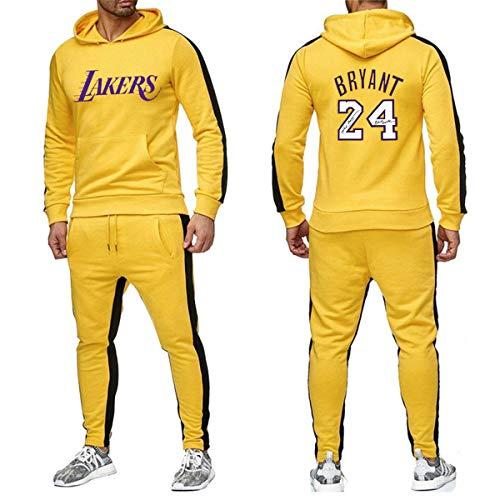JX-PEP Herren 2 Stück Sets Lakers 24 Anzug Männer Herbst-Winter-T-Shirt + Kordelzug Hosen-Mann Hoodies Basketball Training Bekleidung,Gelb,XL