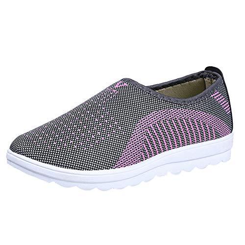 Zapatos planos de malla para mujer con patchwork, zapatos casuales de algodón, zapatos para mujer caminando a rayas, mocasines suaves, color Gris, talla 40 EU