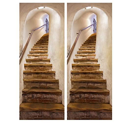 U-Kiss 2 Stücke Türtapete selbstklebend TürPoster für Innentüren Weiße Treppe 3D Bewirken PVC Fototapete Türfolie DIY Poster Tapete Abnehmbar für Wohnzimmer Küche Schlafzimmer 3D Türaufkl38.5 * 200CM