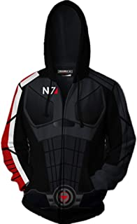 Mass Effect N7 Hoodie 3D Printed N7 Cosplay Zip Up Hooded Cosplay Jacket for Party Holiday