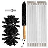 NZNZ Limpiador de ventilación de Secado 24 pies, Flexible 18 Barras Kit de Limpieza de conductos Secos Chimenea Swee P Cepillo con 2 Cabezas de Cepillo y Cepillo de lenos de Secado, (Color : Black)