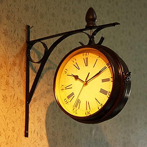 ZHJIUXING ST Reloj de Pared de Doble Cara, Vintage, Reloj de Cuarzo con Soporte Exterior, Reloj de Pared de Hierro Reloj Antiguo montado en la Pared para decoración de jardín, Red-Brown