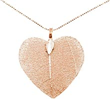 Collar corazón de hoja natural con cadena de Plata de Ley 925 - Regalos de San Valentín para ella