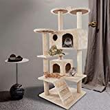Large Multi-Layer cat Tree, Double Plush Apartment, cat Climbing Frame, cat Habitat, cat Tower, cat Activity Center,Large Cat Stand Furniture Climbing Play House Center, Indoor Activity Relaxing