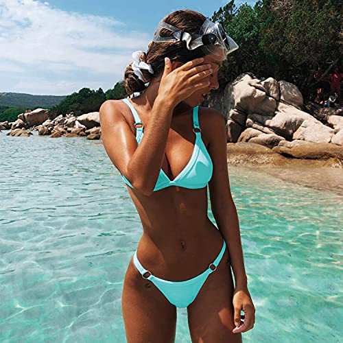 Voqeen Mujer Bikinis Brasileños Tanga Push Up Playa Traje de Baño Sexy Bañador de Baño Tops y Braguitas 2 Piezas Verano