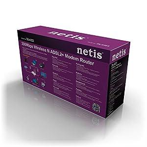 Netis DL4323 Wireless N300 ADSL2+ Modem Router, 2.4Ghz 300Mbps, 802.11b/g/n, Splitter, 5dBi High Gain Antenna (DL4322)
