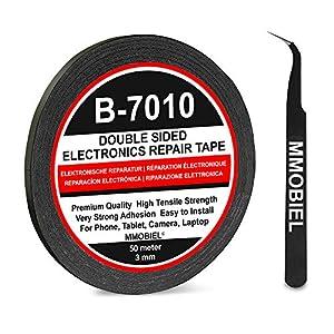 MMOBIEL 3 mm Cinta adhesiva fuerte doble cara. Rollo Longitud: 50m (Negro) para reparar teléfonos inteligentes y tablets