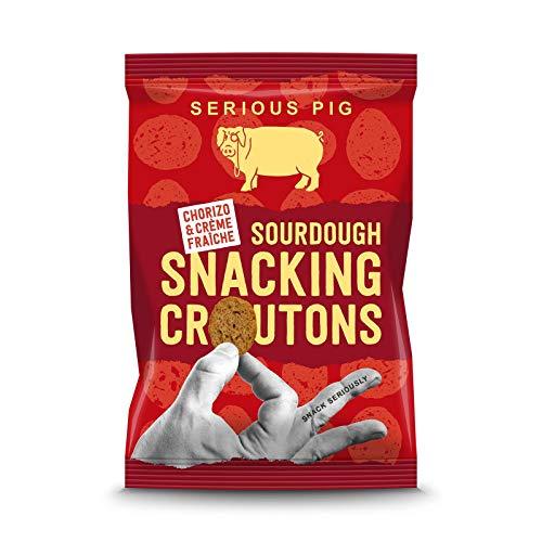 SERIOUS PIG Snacking Croutons 'Chorizo & Crème Fraiche' 24pk, Sourdough Crouton Snacks