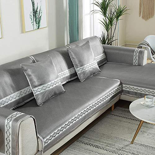 YUTJK Cubierta de sofá Fresco Lavable y Plegable,Funda se Puede Empalmar de Sofá Funda para sofá Antideslizante Protector Cubierta de Muebles,Gris 2_110×240cm