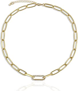 Une Douce Gold Choker Necklaces for Women, Chunky Gold Chain Link Necklaces, Dainty Chain Link Necklaces with Pearls, 90s Rhinestones Link Chain Choker, Trendy for Jewelry, Gift for Women Girls