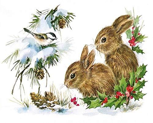 VinMea Rompecabezas de 300 piezas de conejos en la nieve animal conejo naturaleza impresión rompecabezas rompecabezas para niños, adultos decoración del hogar juguetes divertidos regalos de cumpleaños