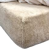 Brentfords Teddy Fleece Fitted Bed Sheet Thermal Warm Soft Cosy Bedding, Plain Latte