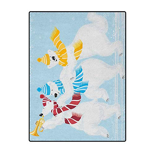 Bear Floors Rug Cute Floor Carpets Kids Playing Mat for Bedroom Christmas Time at North Pole Theme Three Funny Characters with Scarves and Trumpet Multicolor 5 x 6 Ft