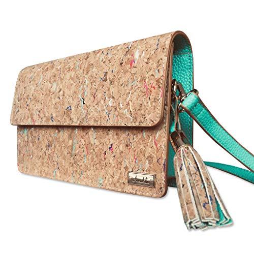 Amalite Vegane Handtasche für Frauen Kein Leder Kork Umhängetasche Clutch Handtasche Schultertasche mit Abnehmbarem Riemen Grün/Türkis