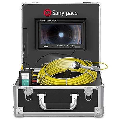 Telecamera di Ispezione Tubi 30M DVR, Schermo 9' Videoispezioni Endoscopio Professionale Telecamere Lunga Distanza per Fognatura Industrial Drenare Ispezioni Rilevatore di Tubi con Scheda SD 8GB