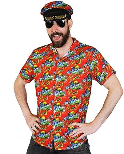 Disfraz de Hawaian para hombre – camiseta roja HAWAIIAN ALOHA + gorro de vela a juego + gafas de sol de aviador – Conjunto de accesorios para disfraz de verano y playa