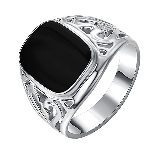 Yoursfs 18ct White Gold Plated Solitaire Drop Oil Bands Black Knight Ring for Men or Boys as a Gift or for Father's Day