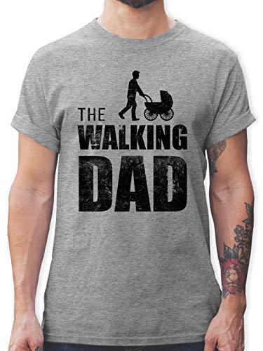 Vatertagsgeschenk - The Walking Dad - L - Grau meliert - Statement - L190 - Tshirt Herren und Männer T-Shirts