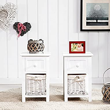 SUNCOO Small Cute Vintage Wood Chic Nightstand End Side Bedside Wicker Storage Set of 2 with Drawer and Baskete 12x11x17.7
