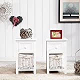 SUNCOO Small Cute Vintage Wood Chic Nightstand End Side Bedside Wicker Storage Set of 2 with Drawer and Basket 12x11x17.7