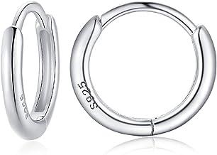 925 Sterling Silver Small Huggie Hoop Earrings for Women Men Hypoallergenic Cartilage Earrings for Girls Silver/Gold/Black...