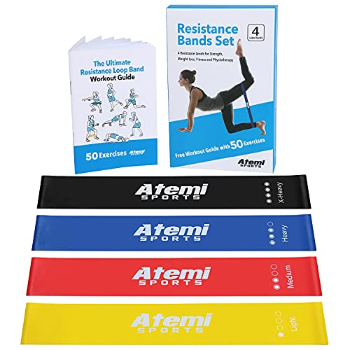 Mini Resistance Loop Bands for Working Out | Set of 4 Resistance Bands for Butt and Thighs | Latex Elastic Bands for Exercise for Women or Men | Gym Bands for Home Workout | Glute Resistance Bands Set