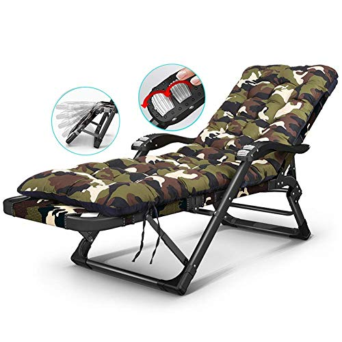 GCZZYMX Zero Gravity Chairs Folding Heavy Duty Reclining Sun Loungers with Thick Cushion, Can Lie Flat, Adjustable Recliners Lounge Chair for Beach Garden, Support 250Kg,Green
