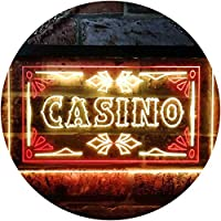 Casino Beer Pub Games Poker Bar Illuminated Dual Color LED看板 ネオンプレート サイン 標識 赤色 + 黄色 600 x 400mm st6s64-i0708-ry