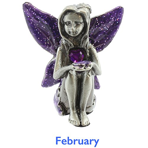 Viceni - Figura de Hada, de Peltre, con Piedra de Nacimiento de febrero, de la Colección de...