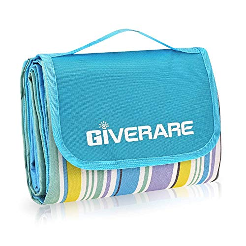 GIVERARE Picnic Beach Blanket, XL Sandfree Waterproof Outdoor Camping Blanket, Quick Drying Oxford Family Mat, Portable Extra Large Picnic Mat for Travel, Hiking, Music Festival, Lawn