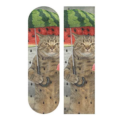 MNSRUU Skateboard-Griffband, Motiv Katze mit Regenschirm, 22,9 x 83,8 cm
