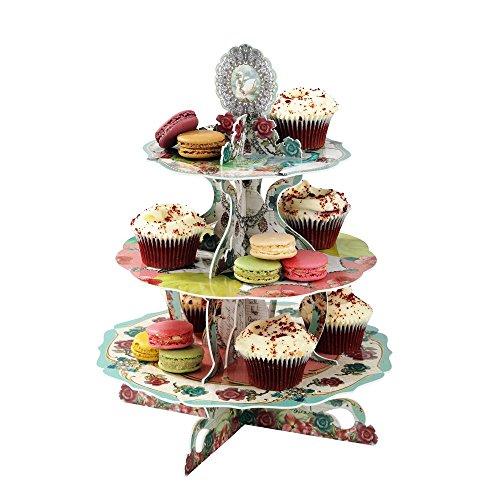 Etagere Vintage Teaparty Teatime Cupcake Ständer Muffins Törtchen Pappe