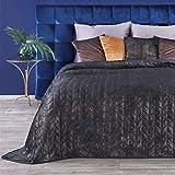 Eurofirany Prachtvolle Tagesdecken Gesteppter Bettüberwurf Steppung Ganzjährige Decke Elegante Steppdecke Quilt (Agatha Schwarz + Gold, 220 x 240 cm)