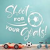 Wandsticker für Jungen mit Fußball-Motiv'Shoot for Your Goals', für Wohnzimmer, Wandbild, Aufkleber, Poster, Vinyl, für Kinder, Küche, Dekoration, Kunst, Zubehör, Wände, Jugendzimmer