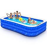 Family Inflatable Swimming Pool, 118' X 72' X 22' Full-Sized Inflatable Kiddie Pool Thick Wear-Resistant Lounge Pools Above Ground for Baby, Kids, Adults, Toddlers, Outdoor, Garden, Backyard