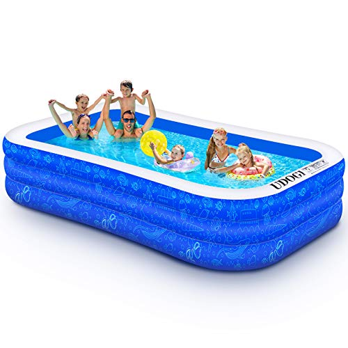 """Family Inflatable Swimming Pool, 118"""" X 72"""" X 22"""" Full-Sized Inflatable Kiddie Pool Thick Wear-Resistant Lounge Pools Above Ground for Baby, Kids, Adults, Toddlers, Outdoor, Garden, Backyard"""