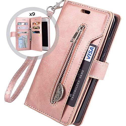 Hnzxy Kompatibel mit Samsung Galaxy A21 Hülle,PU Leder Tasche Flip Case Cover Handyhülle Reißverschluss Geldbörse mit 9 Kartenfächer Lederhülle Magnet Handy Schutzhülle Klapphülle,Rose Gold