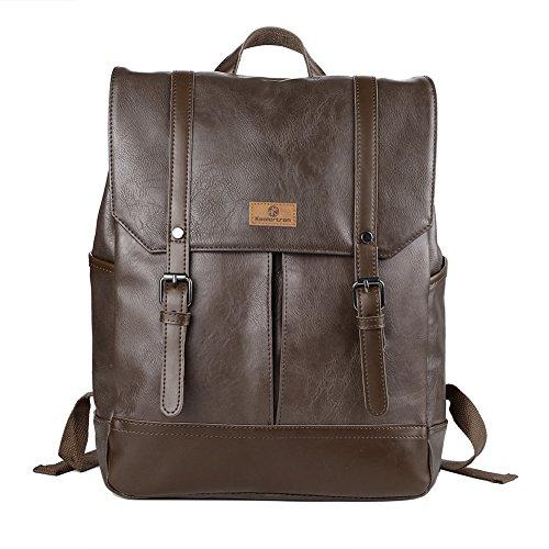 Koolertron Zaino vintage in pelle, casual, adatto per uso quotidiano e camping, dimensioni ideali per Acer Aspire, MacBook, iPhone, iPad, e Tablet Samsung.