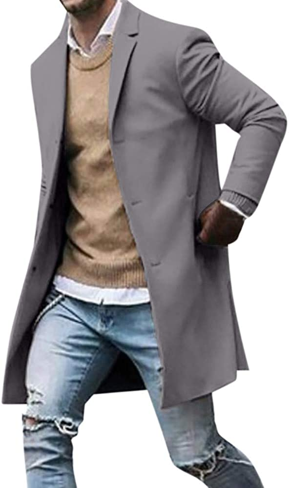 Men Trendy Trench Coat Casual Button Down Lightweight Long Jacket Cardigans Suit Jacket Trench Coats for Mens
