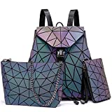 No_brand Mochila , Mochila para Mujer Mochila Bolso Bandolera Plegable para Damas Conjunto de Bolsa de 3 Piezas Bolso geométrico Bolso de Color Luminoso