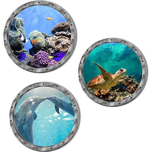 3 x 3D Meer Wandaufkleber, Wandtattoo Unterwasser, für Badezimmer, Schlafzimmer, Tür, Kinderzimmer, Kinderzimmer, inklusive Meerestur,Selbstklebend 29x29cm