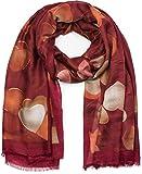 styleBREAKER chal de mujer con motivo de corazones y flecos, chal de invierno, estola, pañuelo 01017084, color:Burdeos-Rojo
