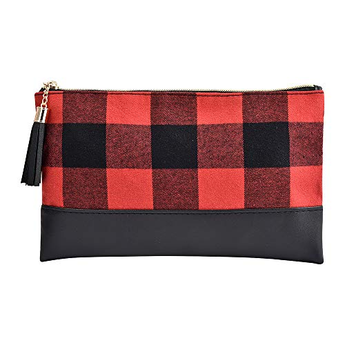 Buffalo Plaid Makeup bag Clutch Purse with Tassel Zipper, Checked Plaid Women Cosmetic Toiletry Bag...