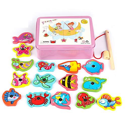 Herefun Holzspielzeug Angelspiel, 15 Stück Angelspiel Holz Montessori Lernspielzeug Fische Angeln Perfektes Kleinkindspielzeug Empfohlenes Spielzeug (Rosa)