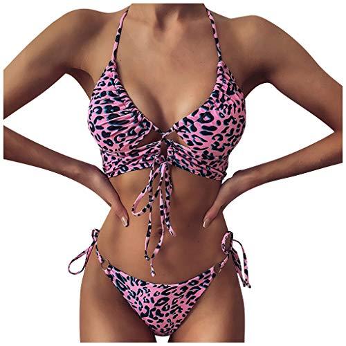 Janly Clearance Sale Traje de baño de cintura alta para mujer con estampado de cuello en V, bikini push-up Pad traje de baño de playa, para verano, rosa, L