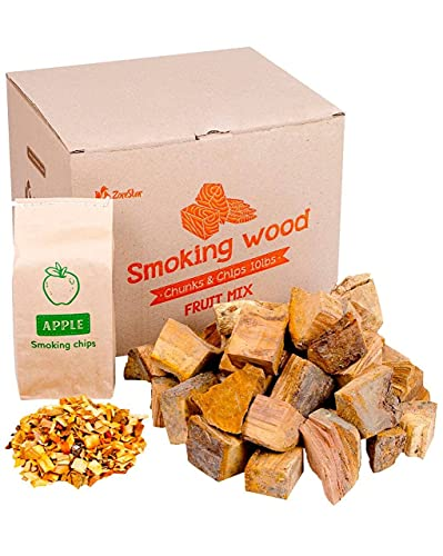 Zorestar Apple Wood Chunks - 10-12lb of Smoking Wood for Grilling and BBQ + 1pc of Apple Chips for Smokers - 100% Natural Cooking Wood
