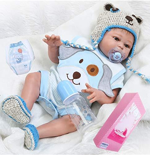 20  Lifelike Reborn Baby Boy Dolls Silicone Full Body Eyes Open Baby Reborn Dolls Anatomically Correct Real Baby Doll Washable
