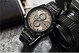 KONGWST Nuevo Reloj Curren Karen 8274 para Hombre Reloj De Cuarzo con Banda De Acero Reloj Deportivo Impermeable para Hombre-Negro Shell Gris