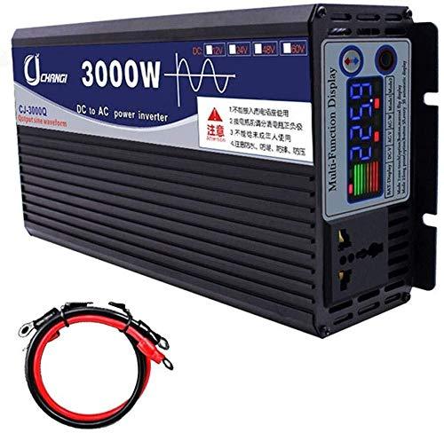 DDNB Power Inverter Wandler DC 12V / 24V / 48V / 60V bis 220V AC Hoch effiziente Power Inverter for Smartphones Tablet Laptop Brustpumpe Power Inverter (Color : 3000w, Size : 12V)
