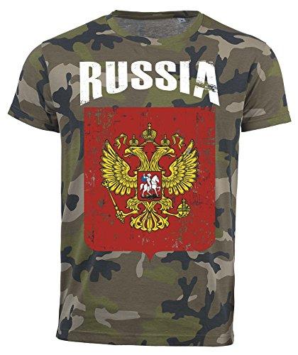 Camiseta de Rusia Camouflage Army Mundial 2018 – Vintage Destroy escudo D01 Negro  L